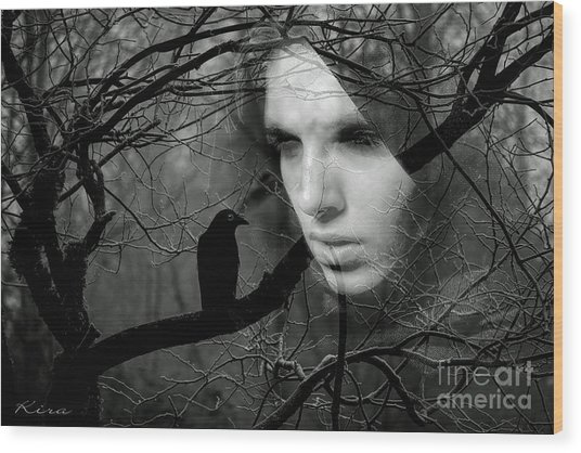 Sister Raven Wood Print