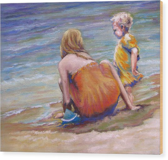 Sisters Enjoy The Shore Wood Print by Carole Haslock