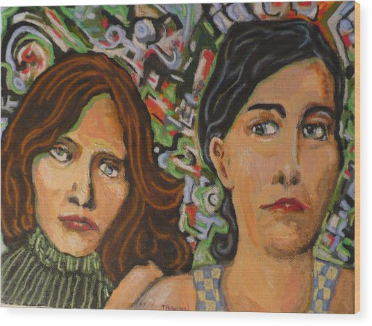 Sisters In Art Wood Print
