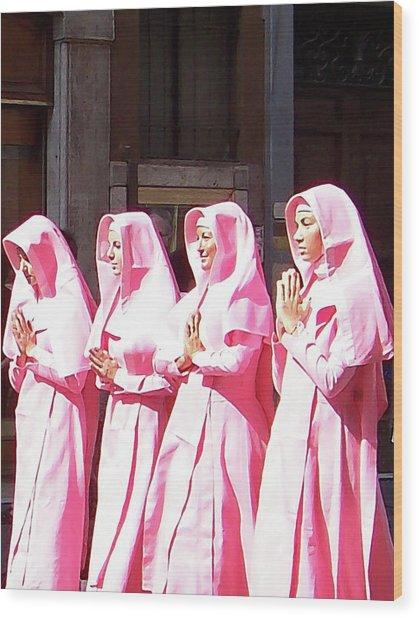 Sisters In Pink Wood Print