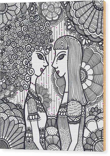 Sisters - Ink Wood Print