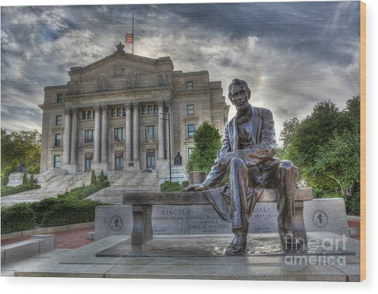 Sit With Me - Seated Lincoln Memorial By Gutzon Borglum  Wood Print