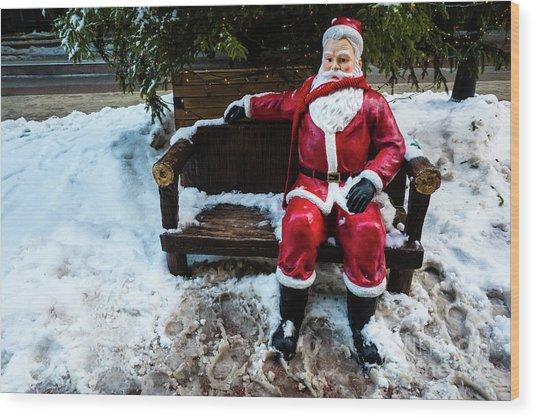 Sit With Santa Wood Print