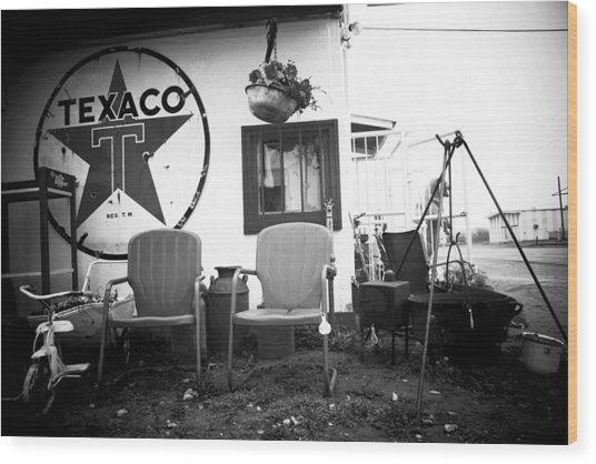 Sitting At The Texaco Black And White Wood Print