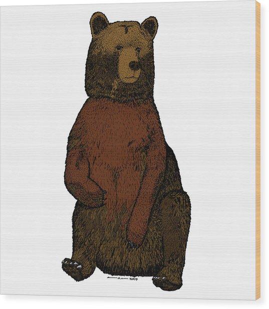 Sitting Bear - Full Color Wood Print by Karl Addison