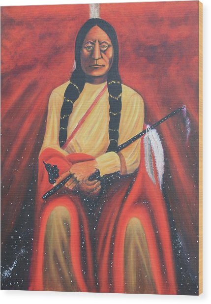 Sitting Bull - Siuox Shaman Wood Print