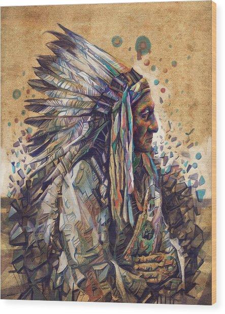 Sitting Bull Decorative Portrait 2 Wood Print