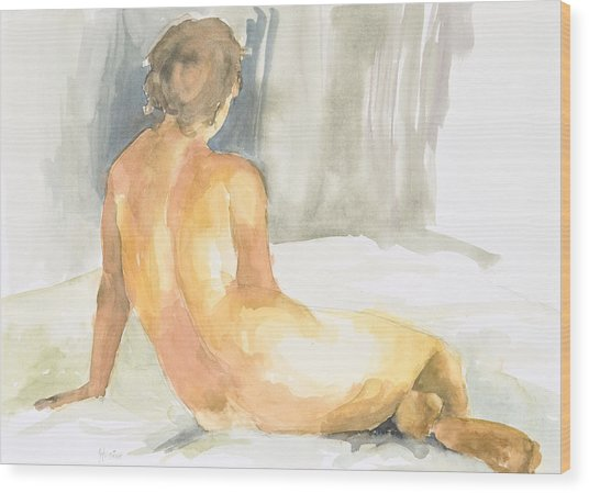 Sitting Figure Wood Print by Eugenia Picado