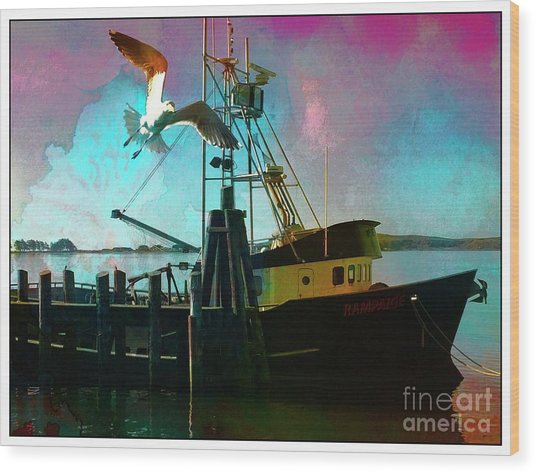 Sitting On The Dock Of The Bay Wood Print