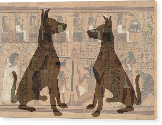 Sitting Proud Dogs And Ancient Egypt Wood Print
