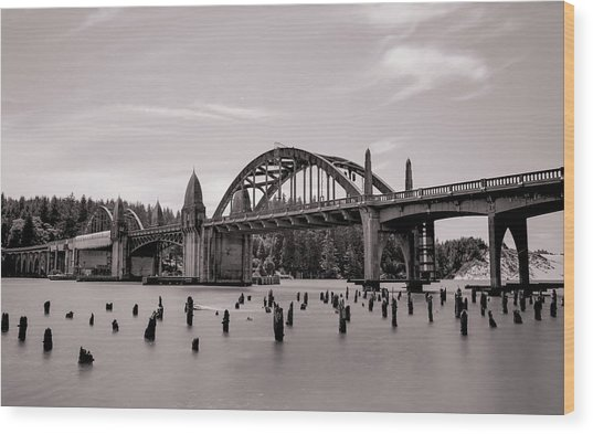 Siuslaw River Bridge Wood Print by HW Kateley