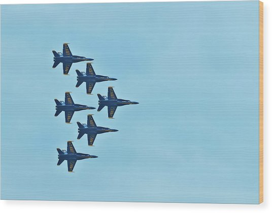 Six Blue Angels In The Clear Blue Sky Wood Print
