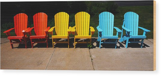 Six Chairs Wood Print