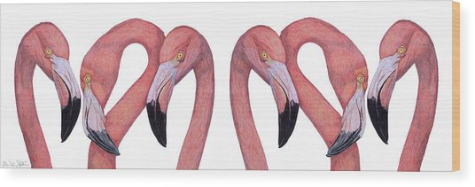Six Flamingos Wood Print