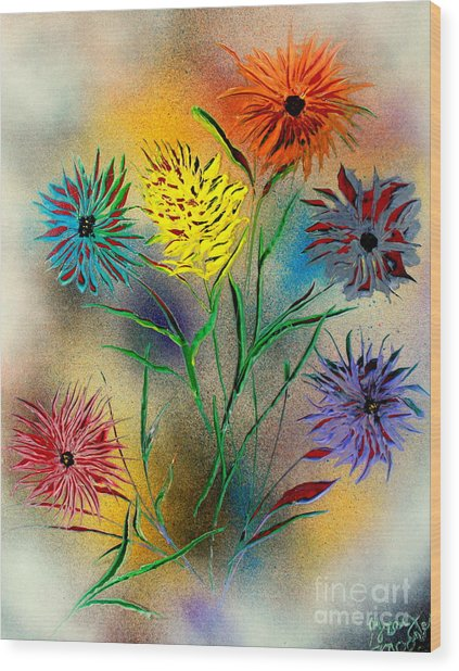 Six Flowers - E Wood Print
