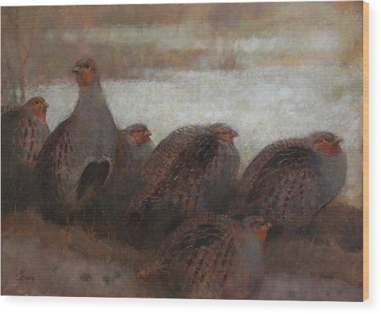 Six Partridges Wood Print
