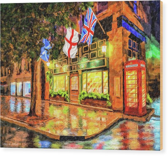 Wood Print featuring the mixed media Six Pence Pub - Savannah In The Rain by Mark Tisdale