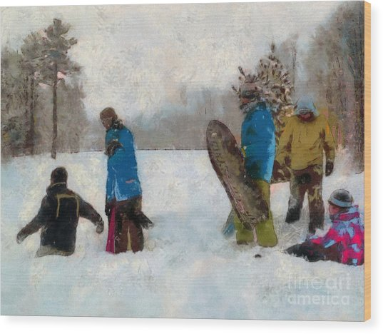 Six Sledders In The Snow Wood Print