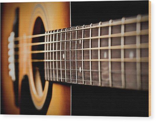 Six String Guitar Wood Print