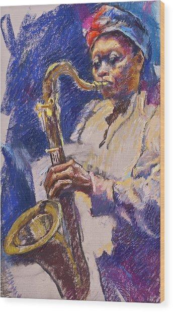 Sizzlin' Sax Wood Print