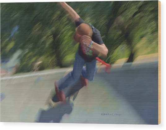 Skateboard Action Wood Print