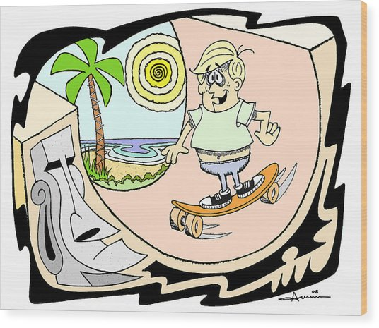 Skater Dude Wood Print by Aaron Bodtcher