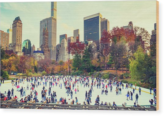 New York Central Park Wood Print
