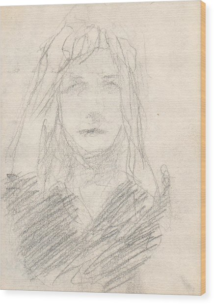 Sketch Of A Girl Wood Print by T Ezell