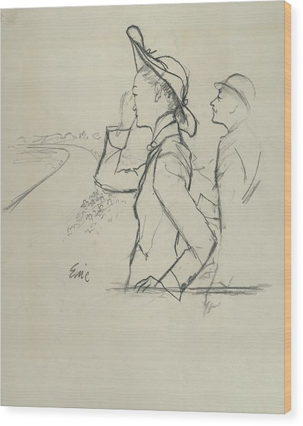 Sketch Of A Woman And Man Wearing Hats Wood Print by Carl Oscar August Erickson