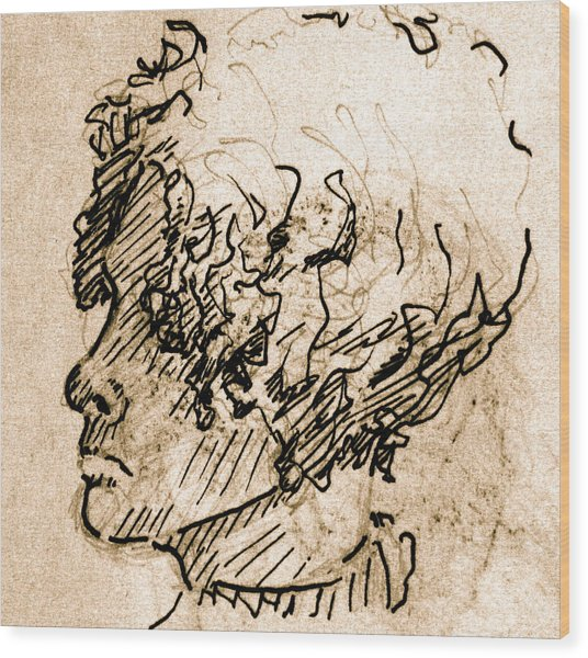 Sketch Of A Young Woman Wood Print by Dan Earle