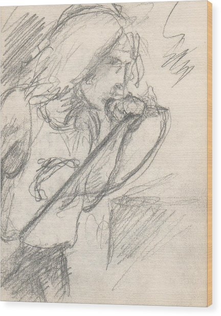 Sketch Of Robert Plant Wood Print by T Ezell