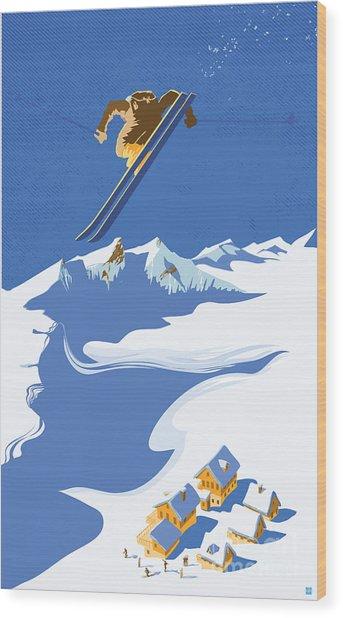 Sky Skier Wood Print