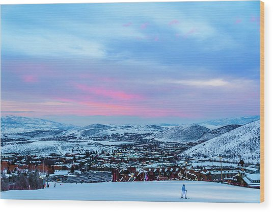 Ski Town Wood Print