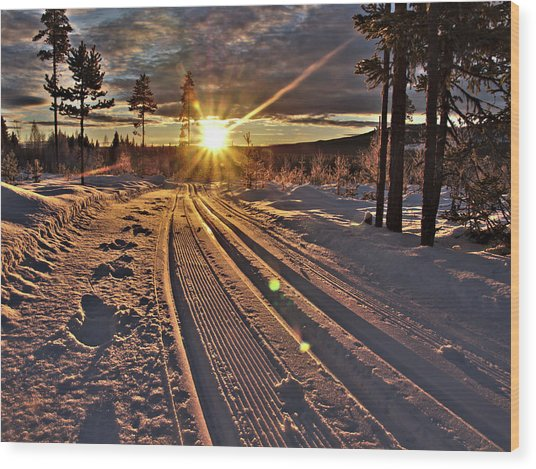 Ski Trails With Sun Beams Wood Print