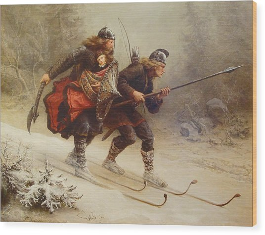 Skiing Birchlegs Crossing The Mountain With The Royal Child Wood Print