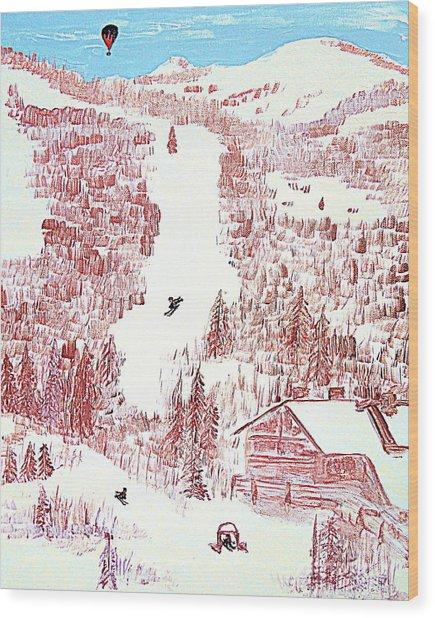 Skiing Deer Valley Utah Wood Print