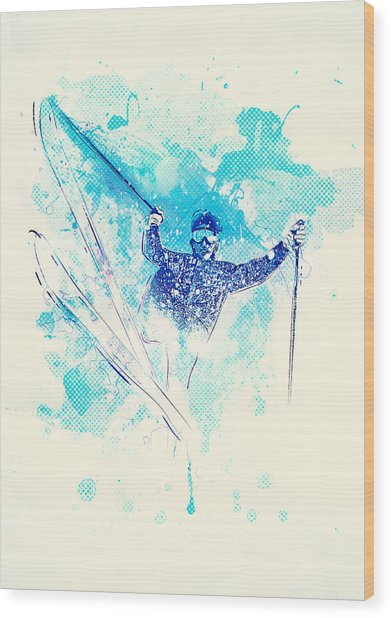 Skiing Down The Hill Wood Print