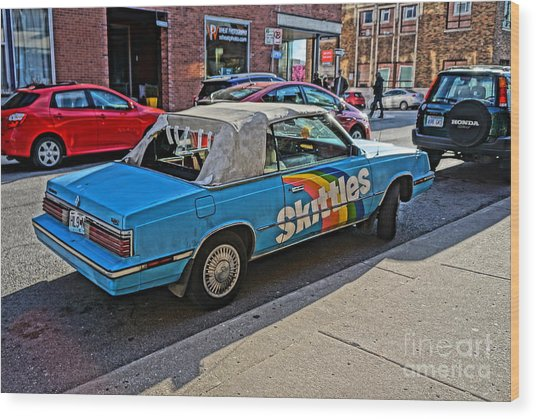 Skittles Car Wood Print