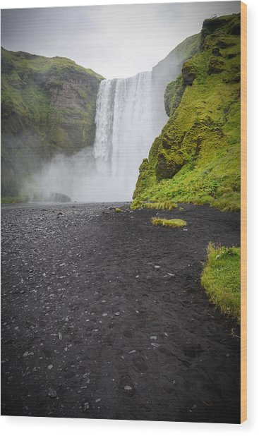 Skogafoss The Entrance To Fimmvorduhals Wood Print