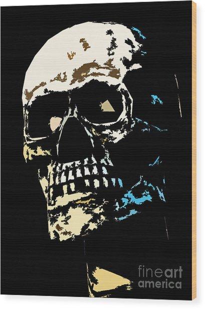 Skull Against A Dark Background Wood Print