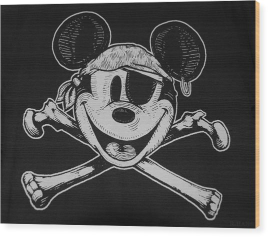 Skull And Bones Mickey  Wood Print