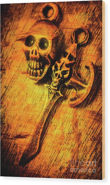 Skull And The Sword Wood Print