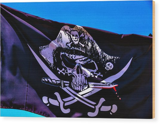Skull Flag With Dagger Wood Print