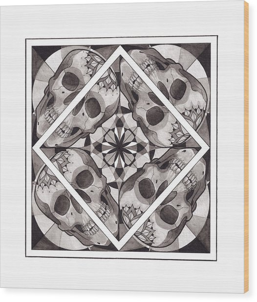 Skull Mandala Series Number Two Wood Print