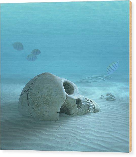 Skull On Sandy Ocean Bottom Wood Print