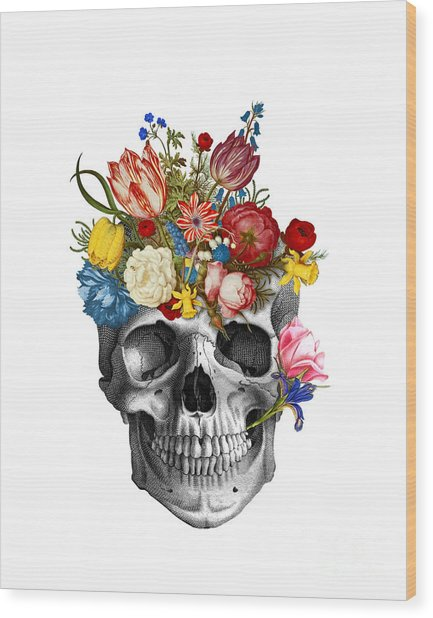 Skull With Flowers Wood Print