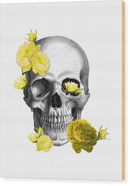 Skull Yellow Roses Wood Print