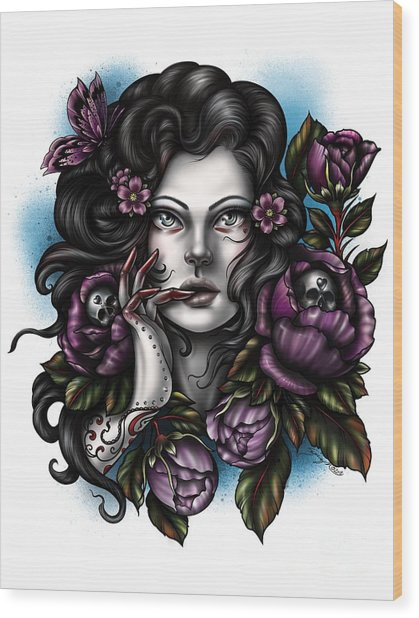 Skulls And Roses Wood Print