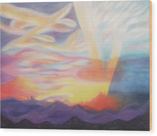 Sky Ablaze Wood Print by Suzanne  Marie Leclair