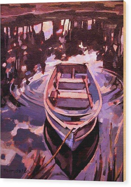 Sky Boat Wood Print